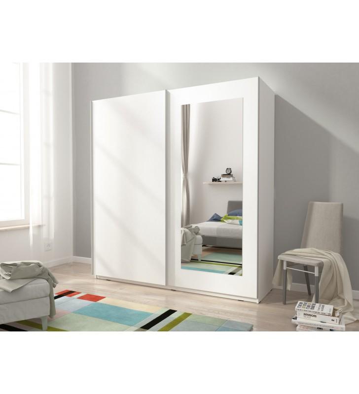 Biała szafa przesuwna z lustrem MIKA VIII 200