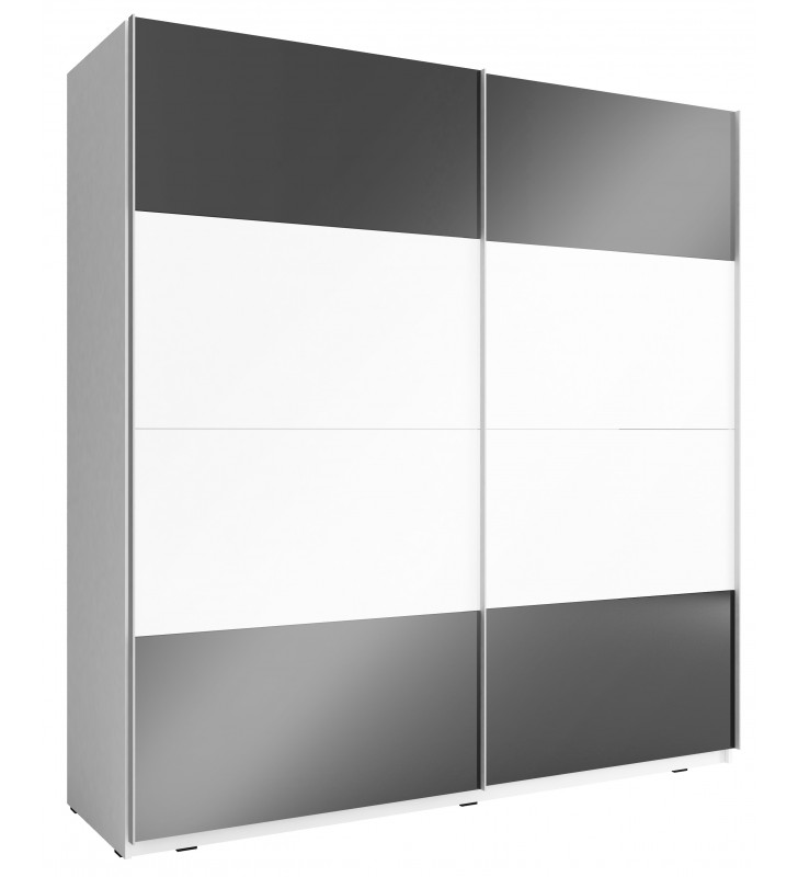 Czarno-biała szafa przesuwna z frontami w wysokim połysku MIKA MULTI 200 A