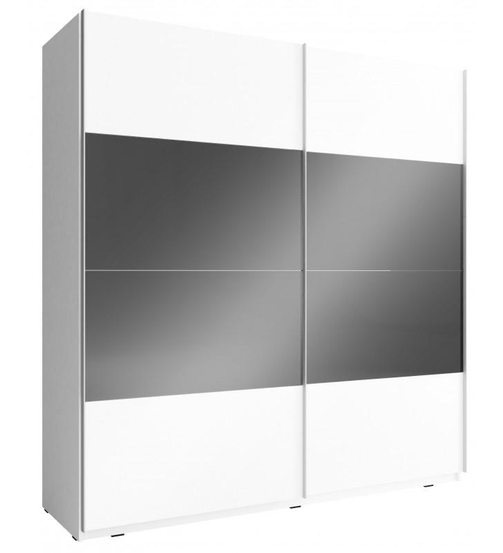 Czarno-biała szafa przesuwna z frontami w wysokim połysku MIKA MULTI 200 B