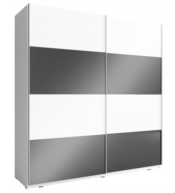 Czarno-biała szafa przesuwna z frontami w wysokim połysku MIKA MULTI 200 D