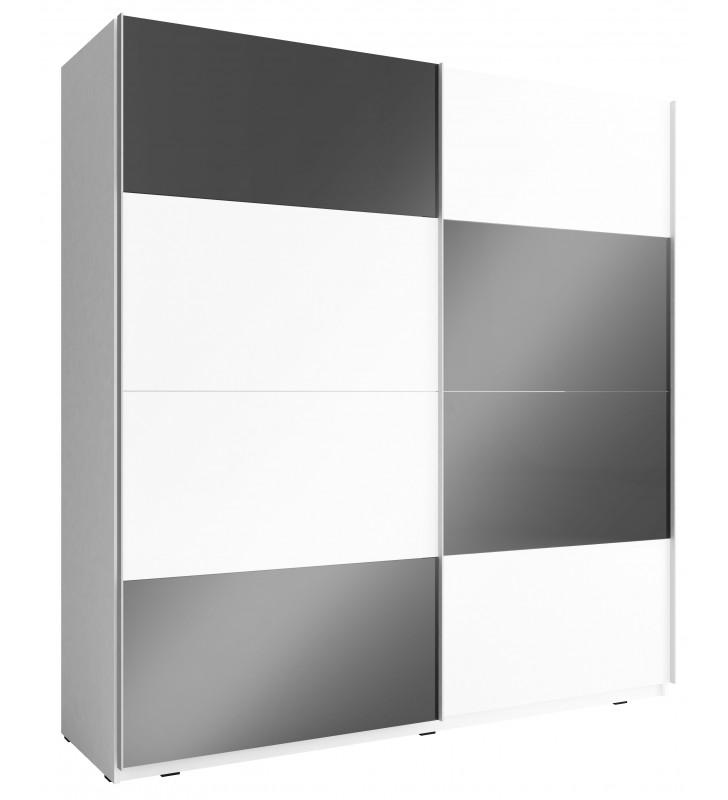 Czarno-biała szafa przesuwna z frontami w wysokim połysku MIKA MULTI 200 E