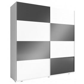 Czarno-biała szafa przesuwna z frontami w wysokim połysku MIKA MULTI 200 F