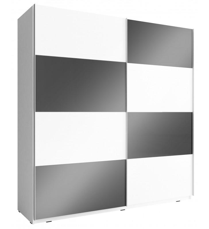 Czarno-biała szafa przesuwna z frontami w wysokim połysku MIKA MULTI 200 G