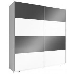 Czarno-biała szafa przesuwna z frontami w wysokim połysku MIKA MULTI 200 H