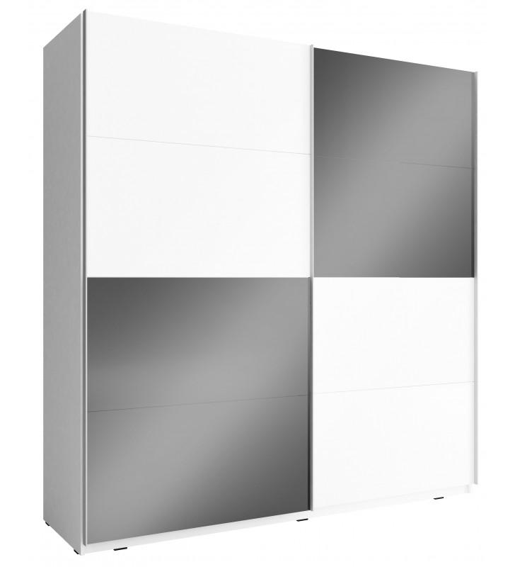 Czarno-biała szafa przesuwna z frontami w wysokim połysku MIKA MULTI 200 J