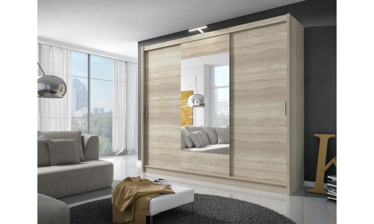 Bardzo szeroka, jasnobrązowa szafa przesuwna z lustrem WIKI 250