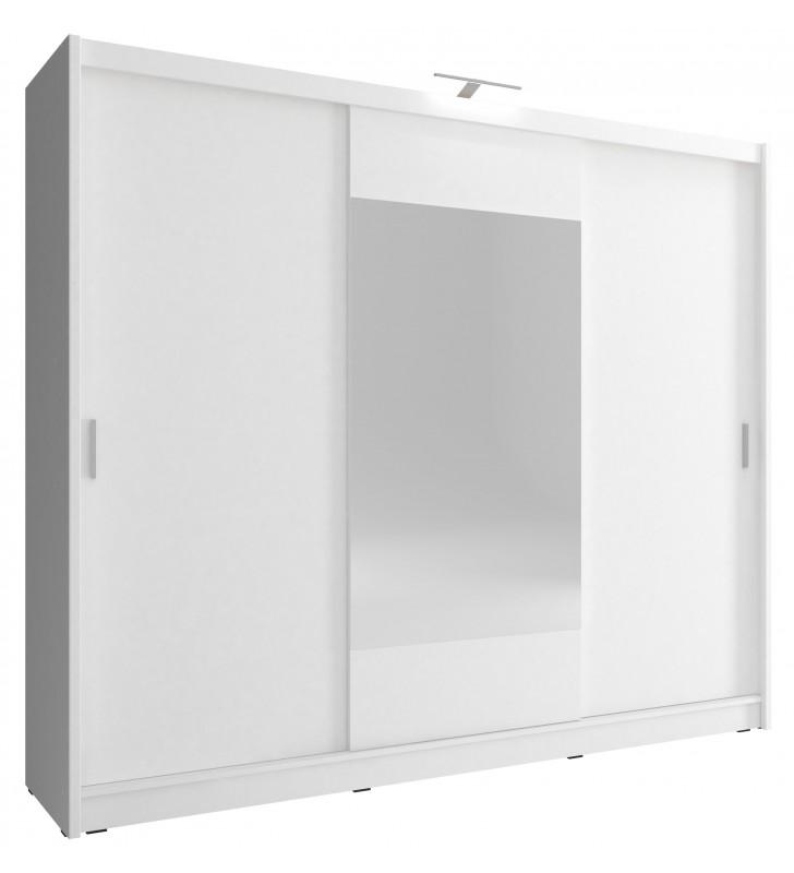 Biała szafa przesuwna z lustrem WIKI 250