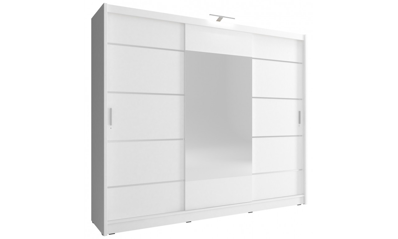 Biała szafa przesuwna z lustrem WIKI ALU 250