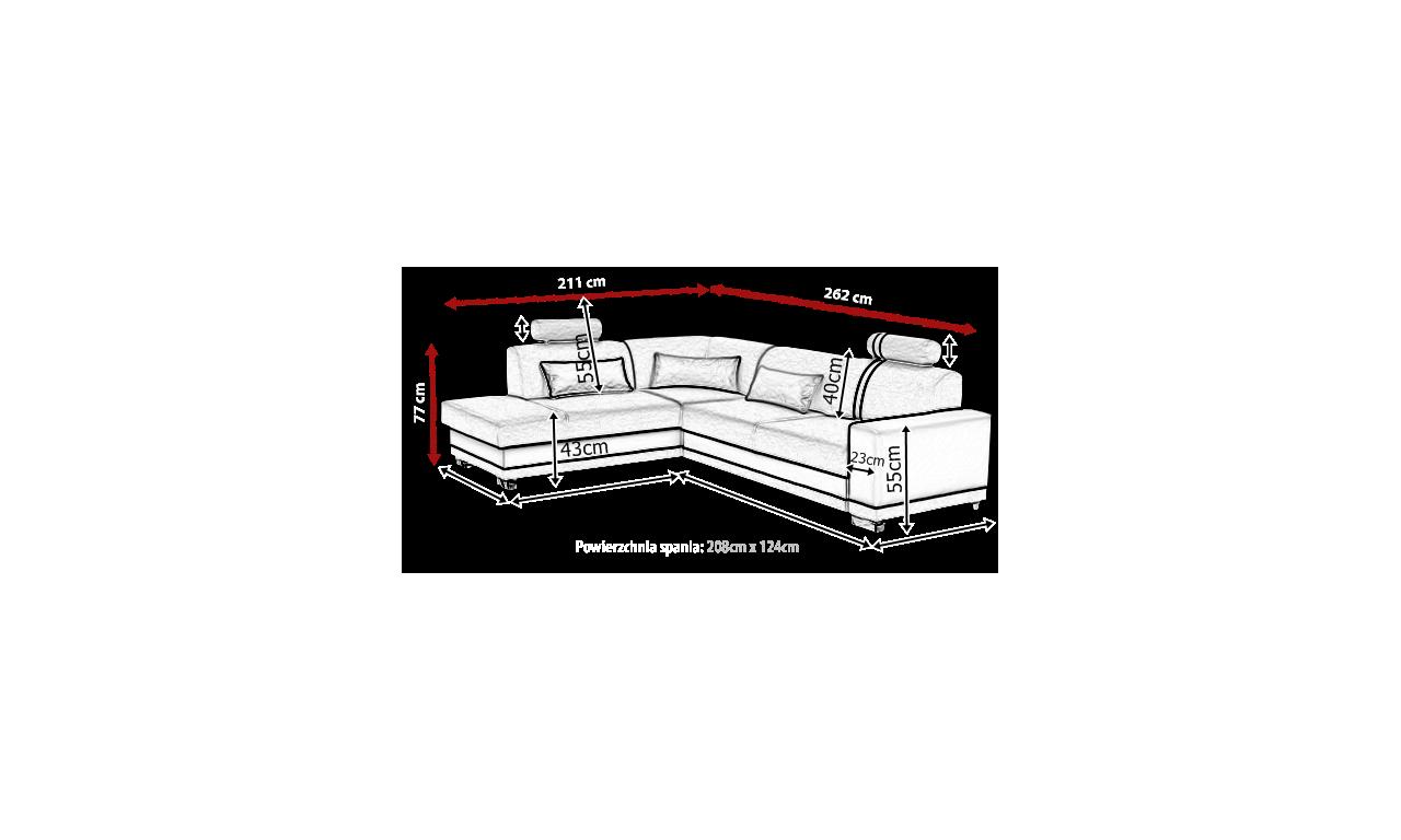 Szaro-czarny narożnik z funkcją spania i pojemnikiem na pościel Veratti