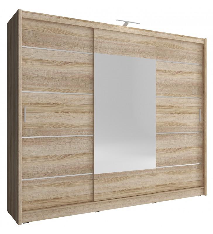 Bardzo szeroka, jasnobrązowa szafa przesuwna z lustrem WIKI ALU 250