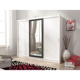 Biała szafa przesuwna z lustrem w czarnej ramie WIKI II 250