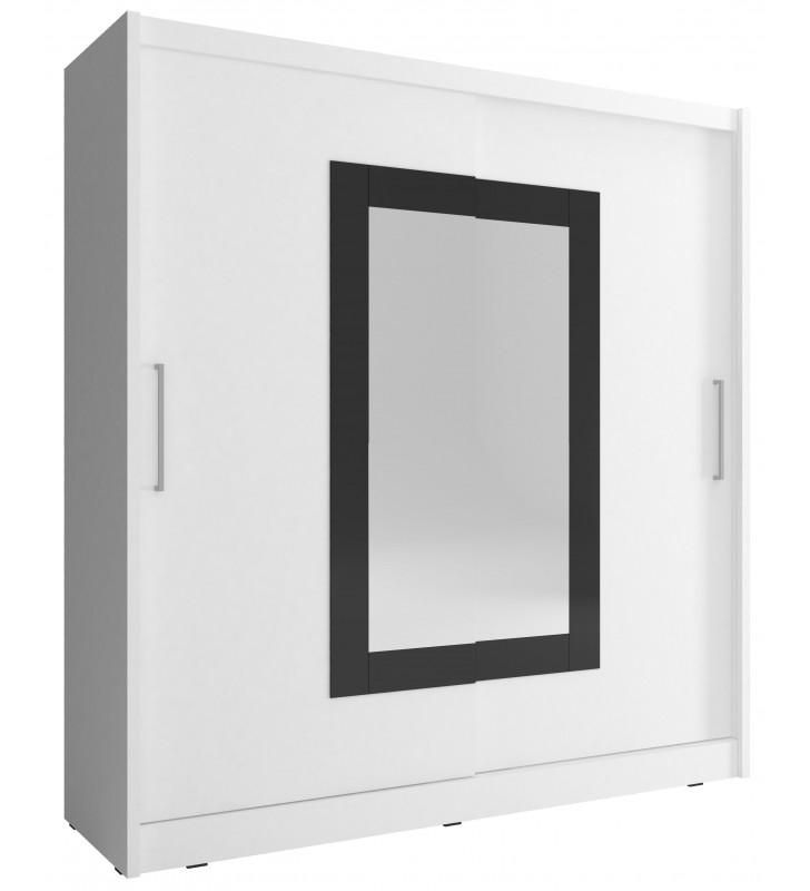 Biała szafa przesuwna z lustrem w czarnej ramie WIKI II 200