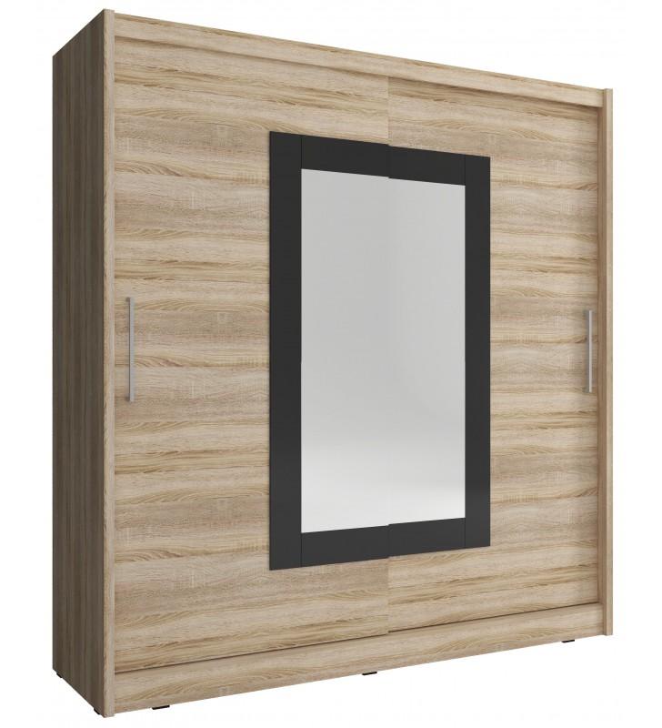 Jasnobrązowa szafa przesuwna z lustrem w czarnej ramie WIKI II 180