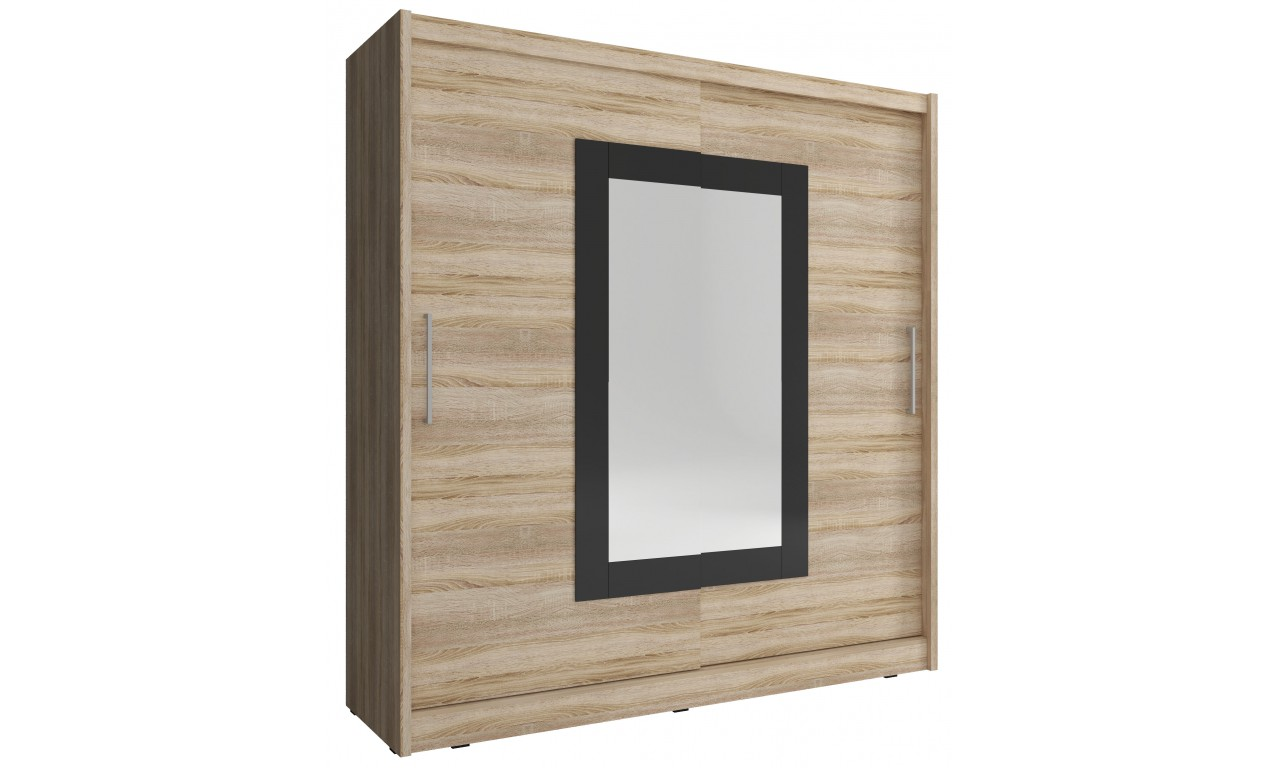 Jasnobrązowa szafa przesuwna z lustrem w czarnej ramie WIKI II 200