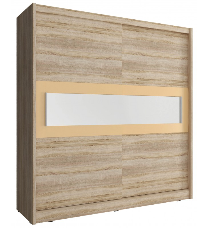 Jasnobrązowa szafa przesuwna z lustrem w kremowej ramie WIKI IV 200