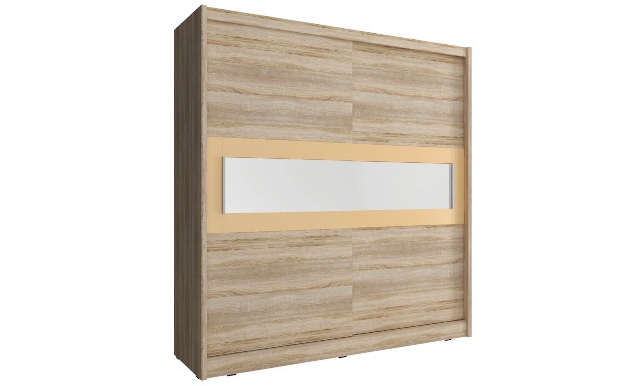 Jasnobrązowa szafa przesuwna z lustrem w kremowej ramie WIKI IV 180