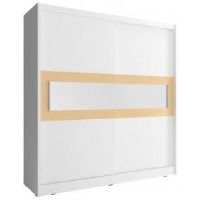 Biała szafa przesuwna z lustrem w kremowej ramie WIKI IV 200