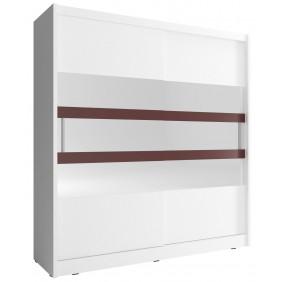 Biała szafa przesuwna z lustrem i brązowymi, ozdobnymi pasami WIKI VI 200