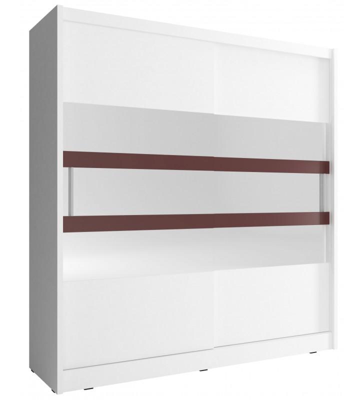 Biała szafa przesuwna z lustrem i brązowymi, ozdobnymi pasami WIKI VI 180