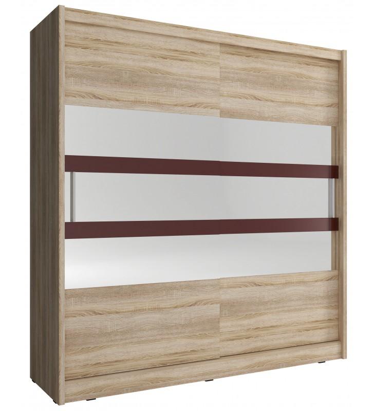 Jasnobrązowa szafa przesuwna z lustrem i brązowymi, ozdobnymi pasami WIKI VI 180