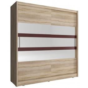 Jasnobrązowa szafa przesuwna z lustrem i brązowymi, ozdobnymi pasami WIKI VI 200