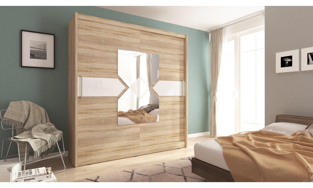 Jasnobrązowa szafa przesuwna z lustrem i białym, ozdobnym pasem WIKI VII 200
