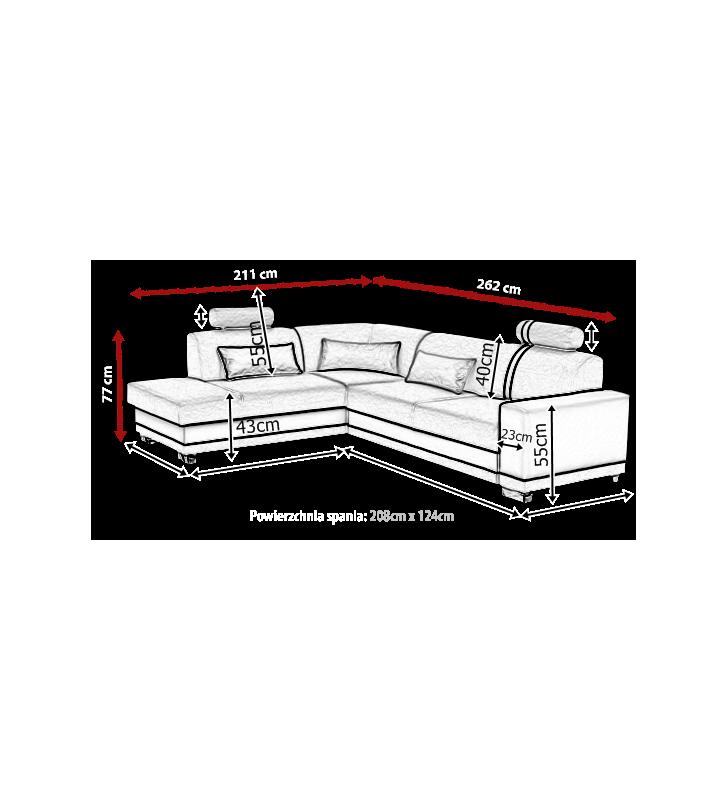 Szaro-biały narożnik z funkcją spania i pojemnikiem na pościel Veratti