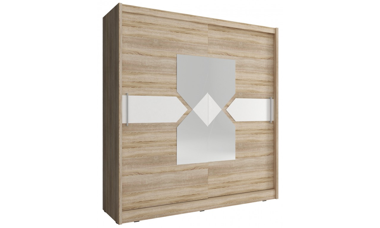 Jasnobrązowa szafa przesuwna z lustrem i białym, ozdobnym pasem WIKI VII 180