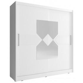 Biała szafa przesuwna z lustrem i białym, ozdobnym pasem WIKI VII 180