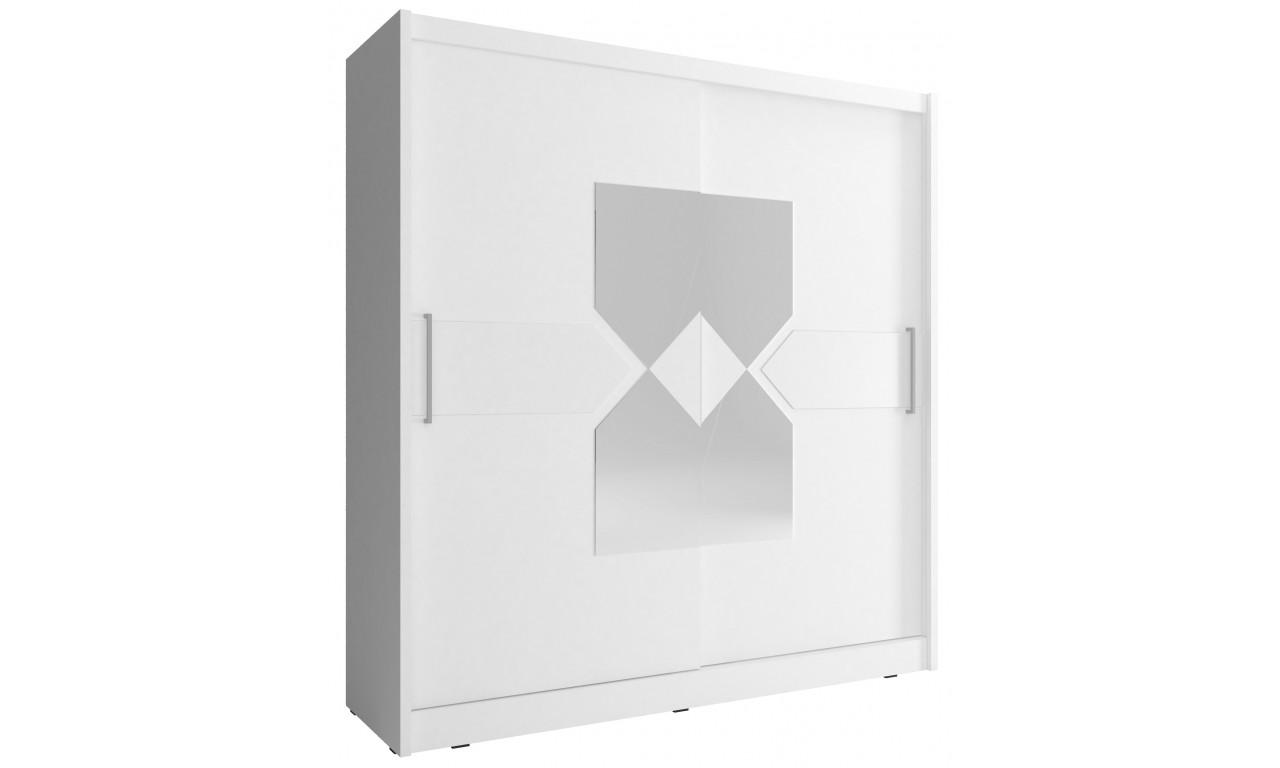 Biała szafa przesuwna z lustrem i białym, ozdobnym pasem WIKI VII 200