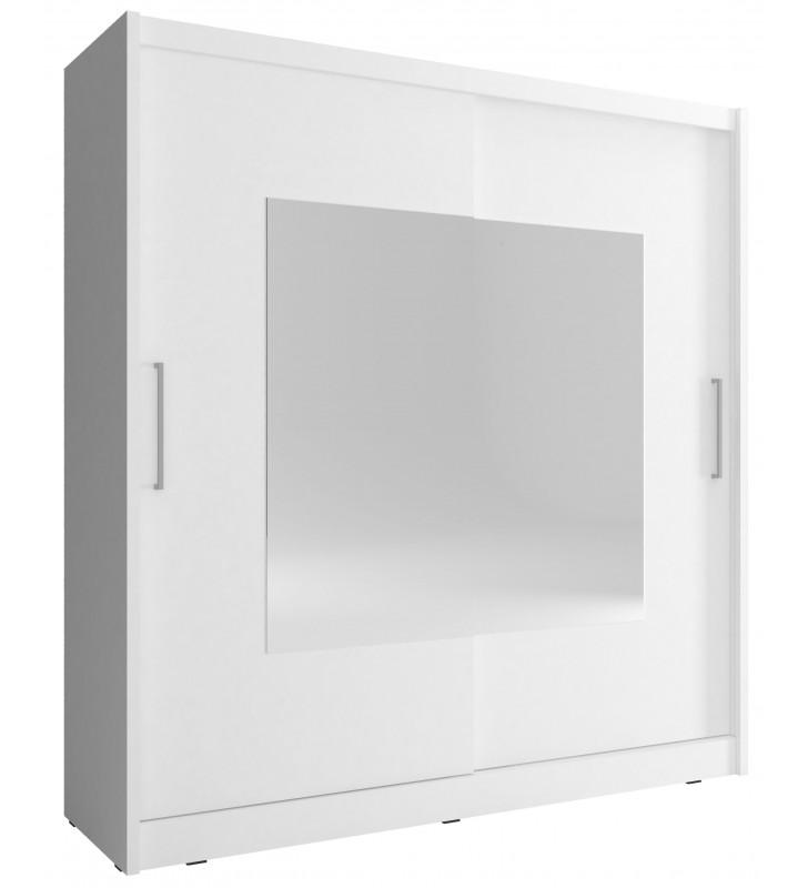 Biała szafa przesuwna z lustrami WIKI IX 200