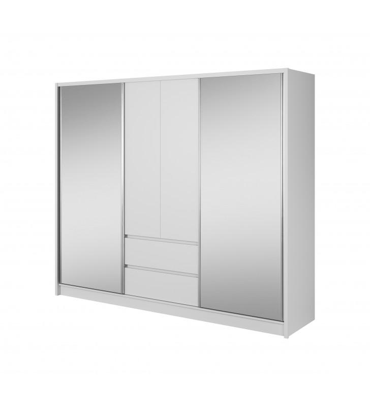 Bardzo szeroka, biała szafa przesuwna z lustrami SARA 250