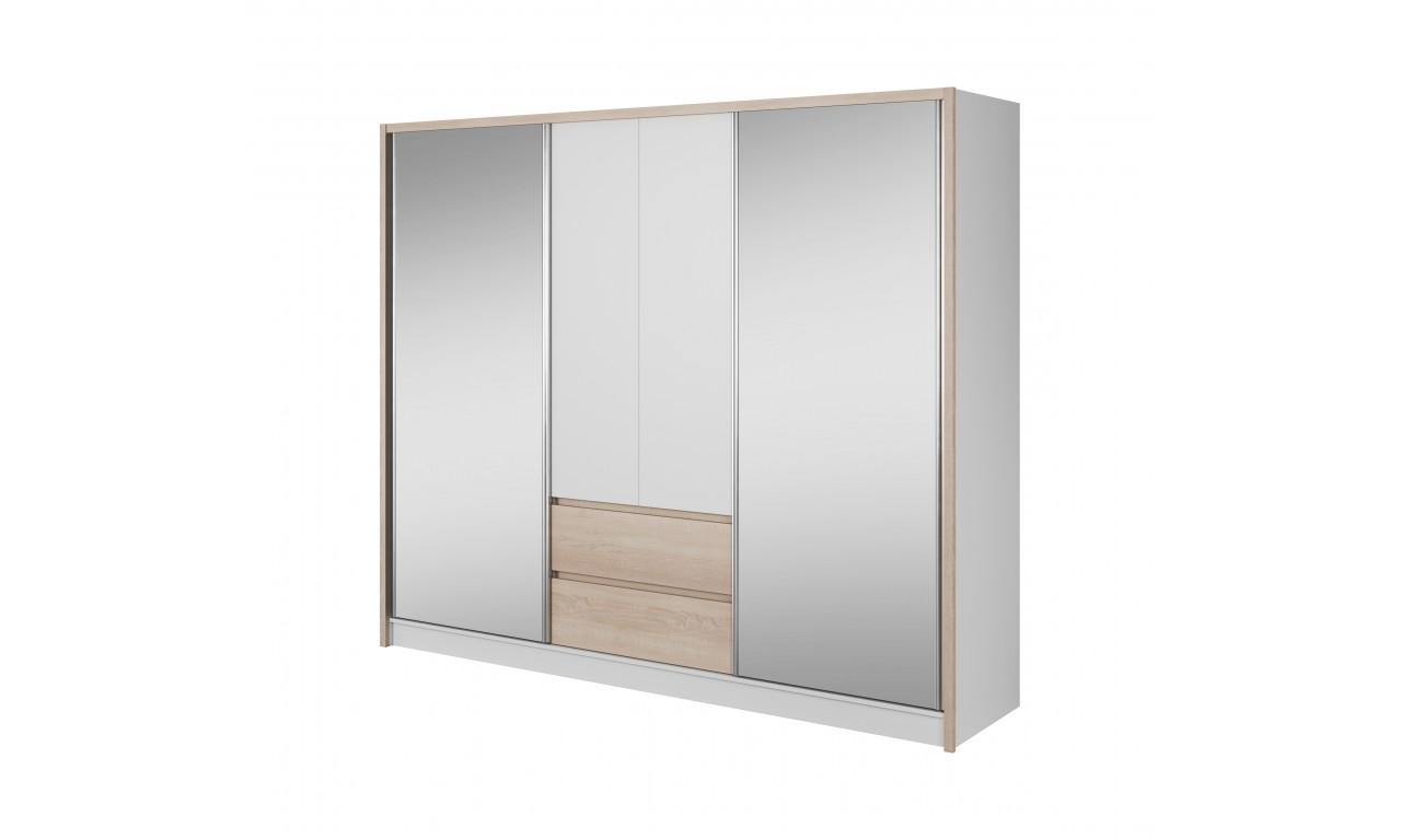 Bardzo szeroka, biało-brązowa (sonoma) szafa przesuwna z lustrami SARA 250
