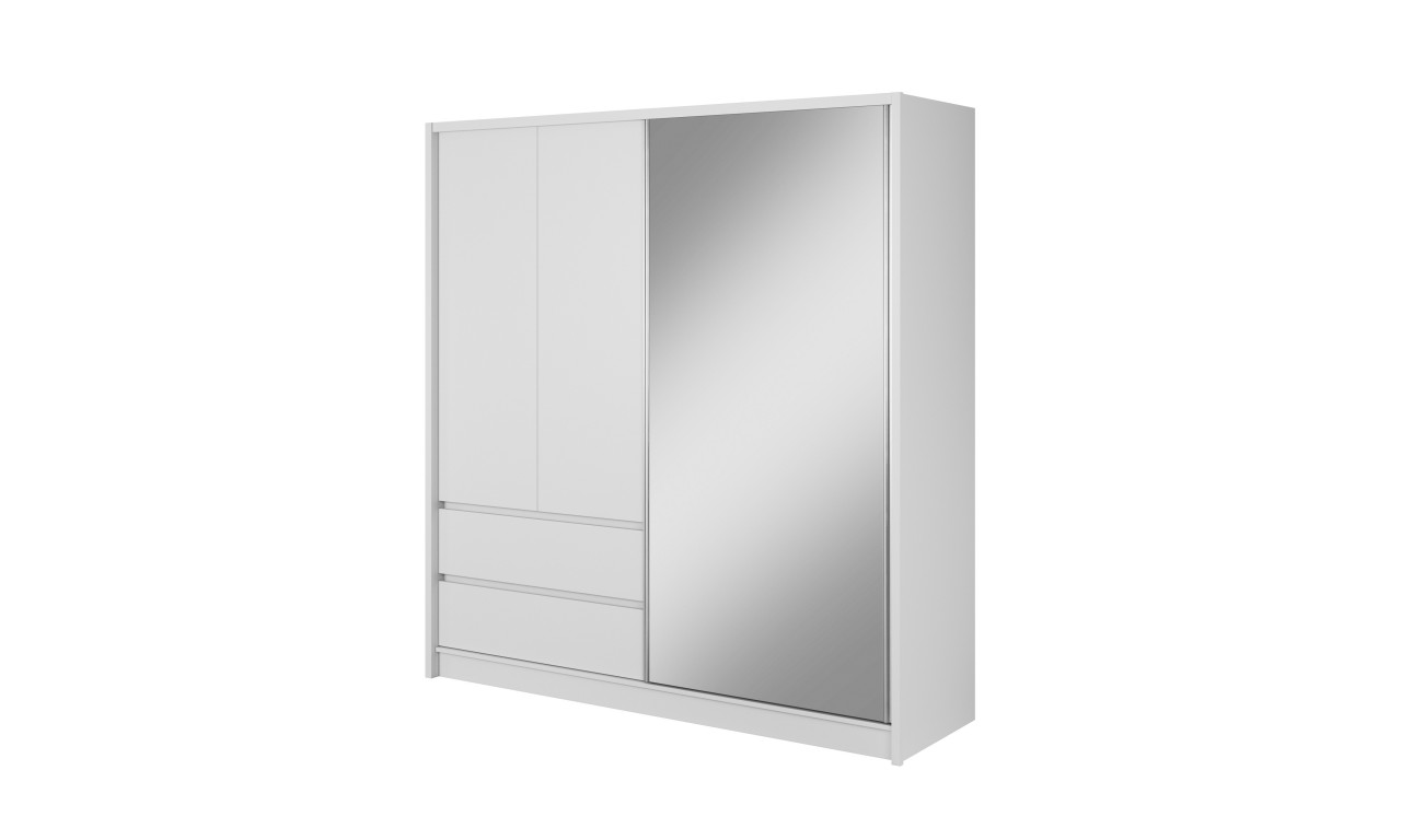 Biała szafa przesuwna z lustrem SARA 200