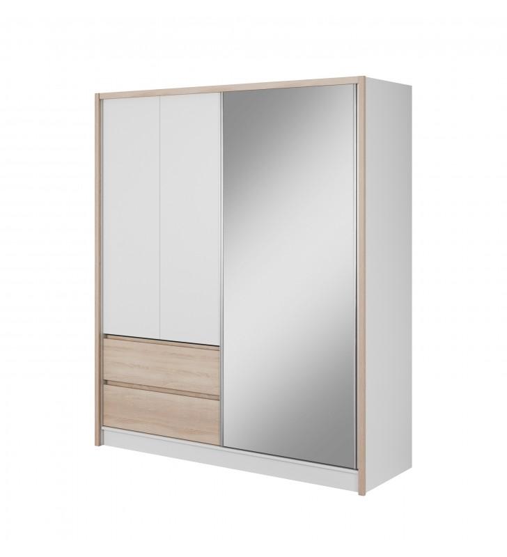 Biało-brązowa (sonoma) szafa przesuwna z lustrem SARA 180