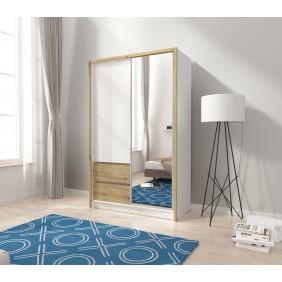 Biało-brązowa (dąb artisan) szafa przesuwna z lustrem SARA 130