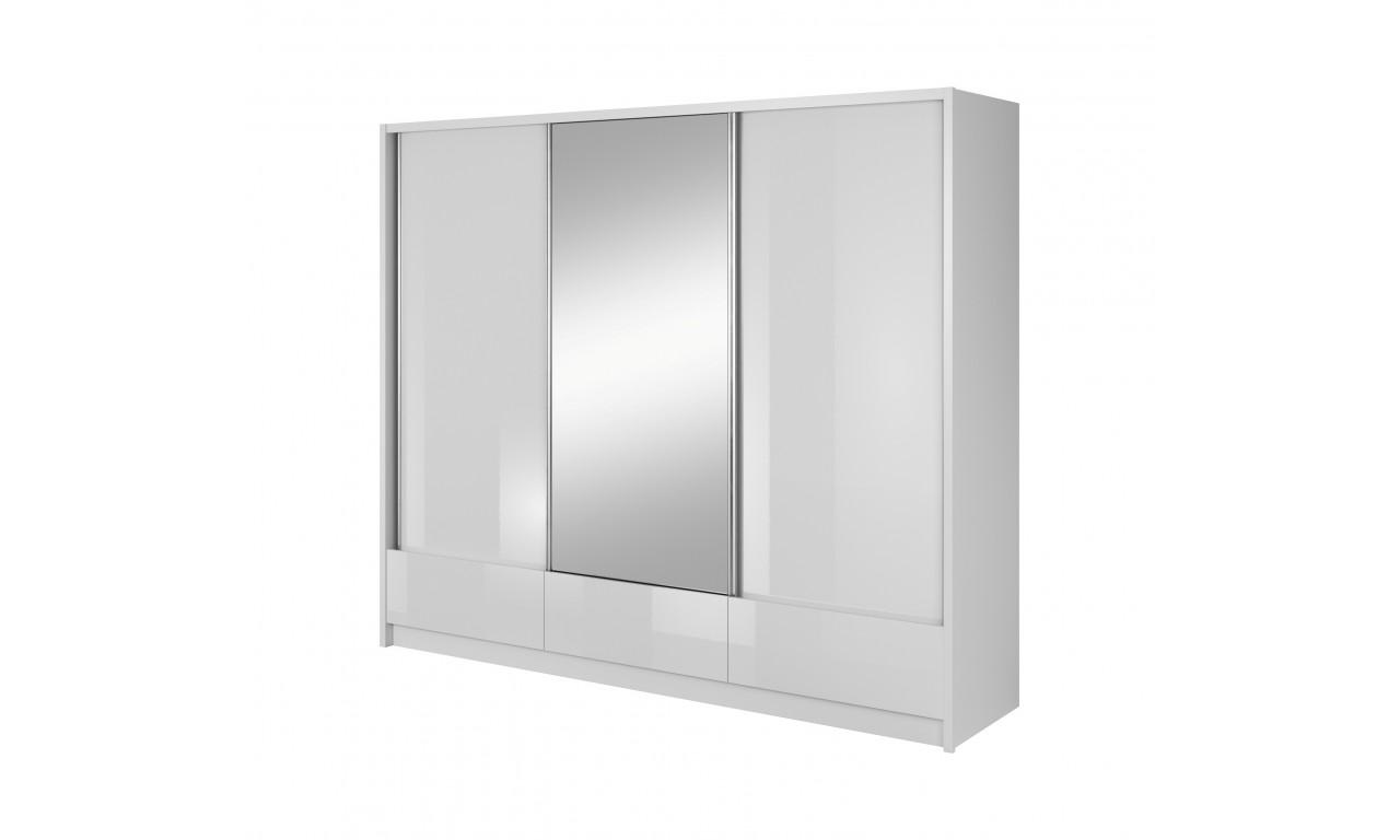 Biała szafa przesuwna z lustrem ARIA I 250