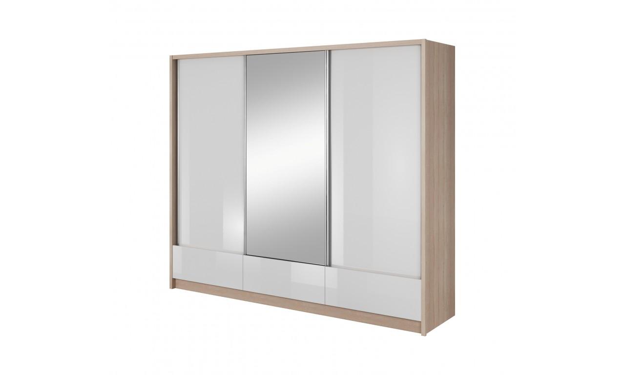 Białobrązowa szafa przesuwna z lustrem ARIA I 250
