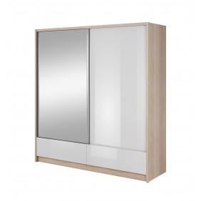 Białobrązowa szafa przesuwna z lustrem ARIA I 200