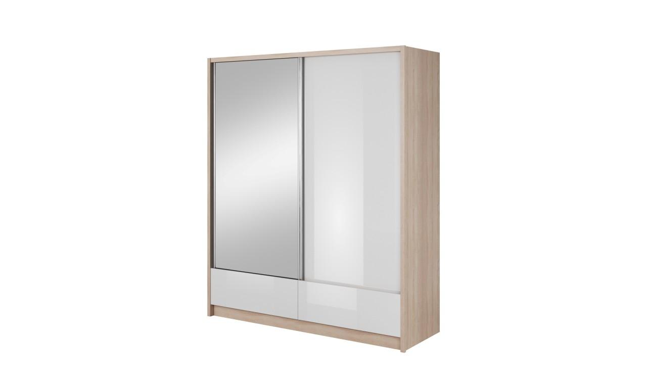 Białobrązowa szafa przesuwna z lustrem ARIA I 180