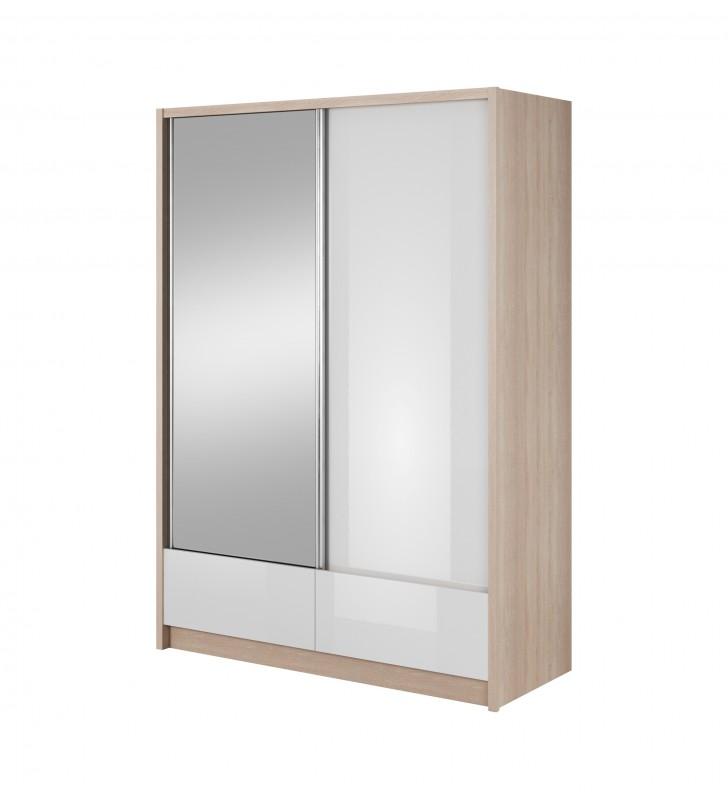 Białobrązowa szafa przesuwna z lustrem ARIA I 150