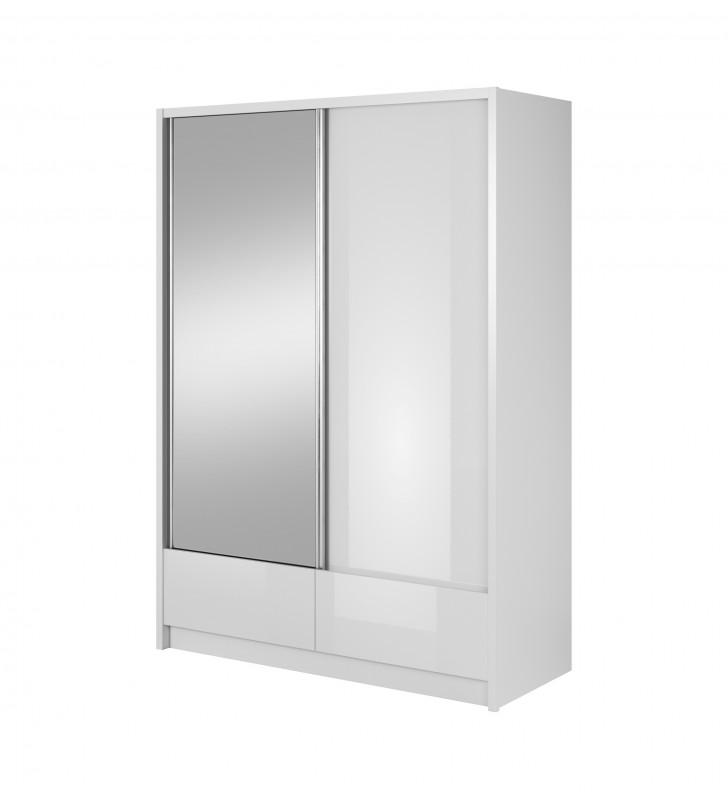 Biała szafa przesuwna z lustrem ARIA I 150