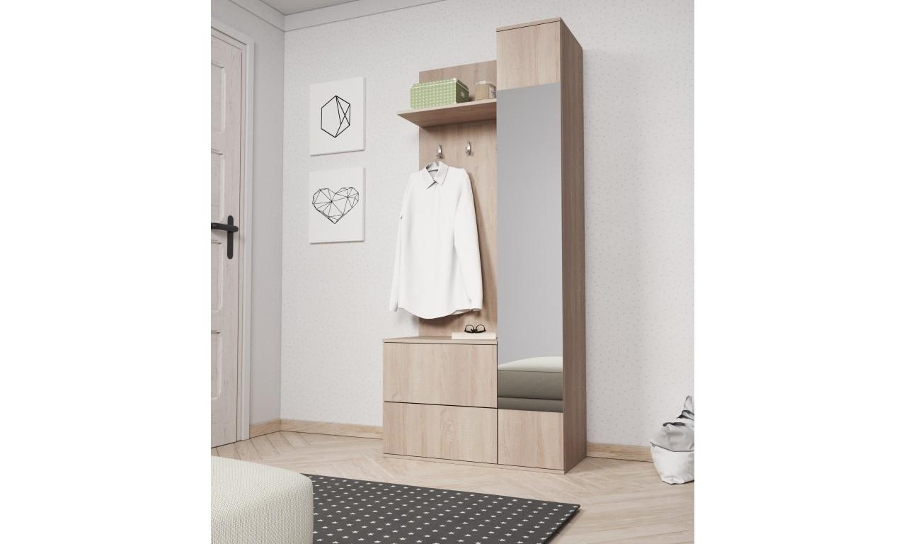 Jasnobrązowa garderobianka z lustrem GREEN