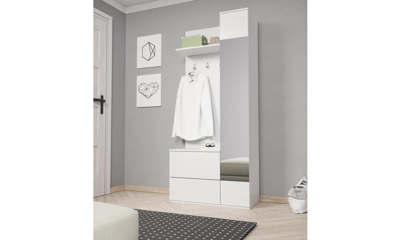 Biała garderobianka z lustrem GREEN