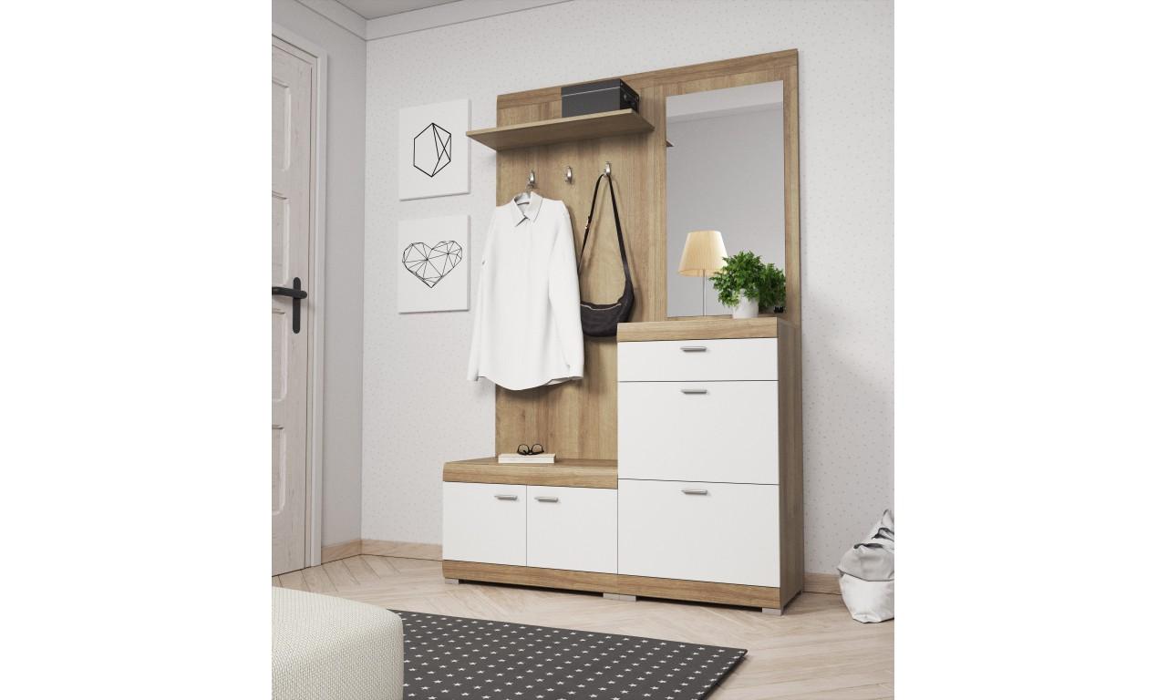 Biało-brązowa garderobianka z lustrem STELLA