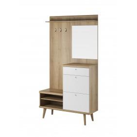 Biało-brązowa garderobianka z lustrem PRIMO