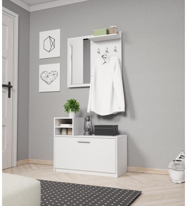 Biała, dwuelementowa garderobianka z lustrem LUNA