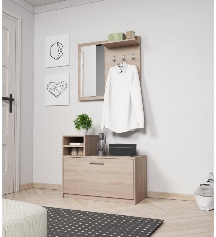Jasnobrązowa, dwuelementowa garderobianka z lustrem LUNA