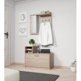 Jasnobrązowa, dwuelementowa garderobianka z lustrem MONTI