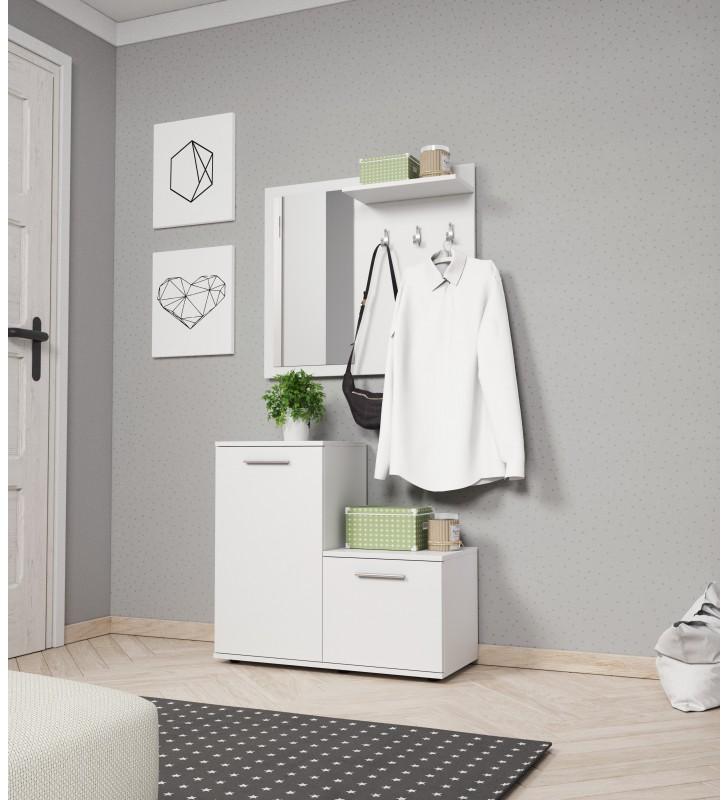 Biała, dwuelementowa garderobianka z lustrem MONTI